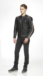 *Sweep leather jacket Ragnar Black/Red