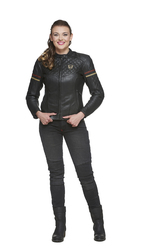 Sweep leather jacket Amelia, Black/Red